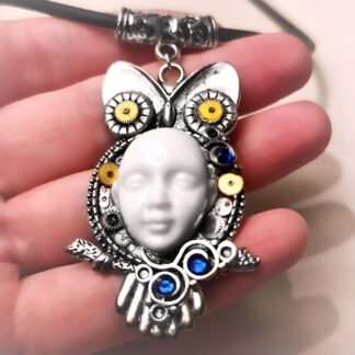Steampunk BDSM jewelry cyberpunk owl necklace