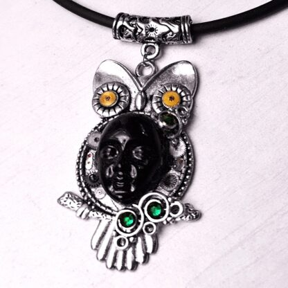 Steampunk BDSM jewelry cyberpunk owl necklace