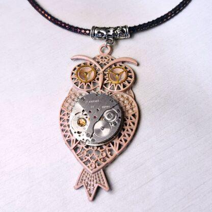 Steampunk BDSM jewelry cyberpunk owl bird necklace psychedelic