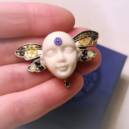 Steampunk BDSM jewelry cyberpunk dragonfly brooch Buddha pin psychedelic trance