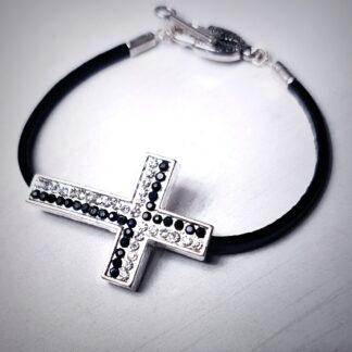 Стимпанк БДСМ украшения браслет кожаный чёрный крест