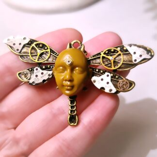 Steampunk BDSM jewelry cyberpunk dragonfly brooch Buddha pin