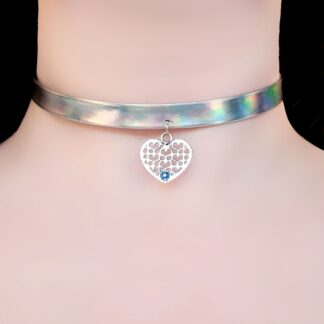 Steampunk BDSM jewelry submissive day collar heart necklace psychedelic