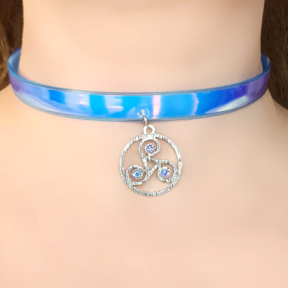Steampunk BDSM jewelry submissive day collar triskele necklace psychedelic