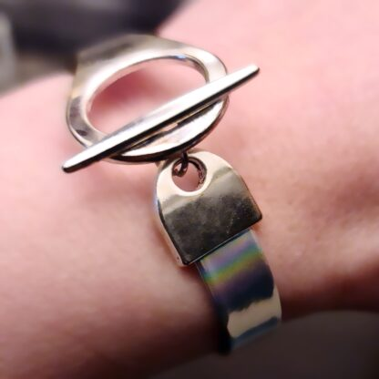 Steampunk BDSM jewelry submissive lock bracelet vegan leather cuff