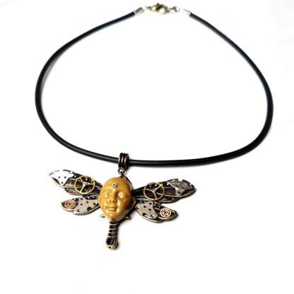 Steampunk BDSM jewelry cyberpunk dragonfly necklace