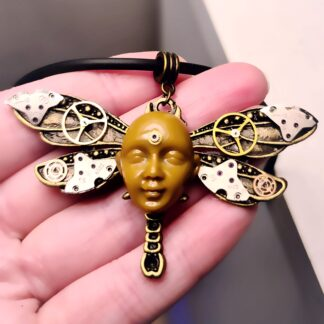 Steampunk BDSM jewelry cyberpunk dragonfly necklace