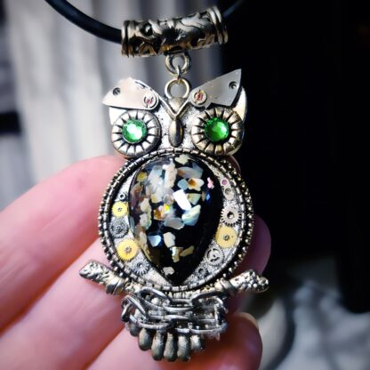 Steampunk BDSM jewelry cyberpunk chained owl necklace