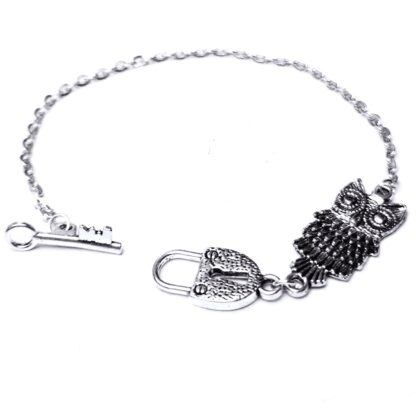 Steampunk BDSM jewelry owl bird chain bracelet lock key cuff