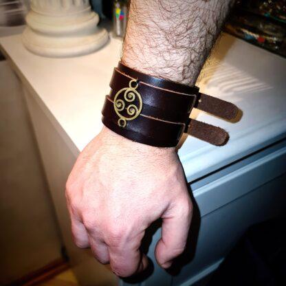 Steampunk BDSM jewelry mens leather bracelet triskele symbol cuff submissive dominant
