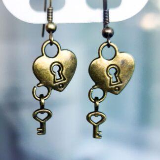 Стимпанк БДСМ украшения длинные серьги серёжки сердце ключик с замочком