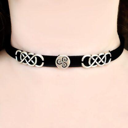 Стимпанк БДСМ украшения символ трискель сабмиссив ошейник кожаный чокер трискелион эмблема
