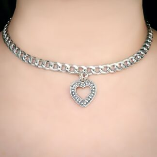 Steampunk BDSM jewelry submissive day collar heart necklace