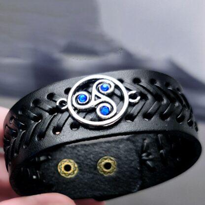 Стимпанк БДСМ украшения кожаный браслет символ трискель сабмиссив доминант