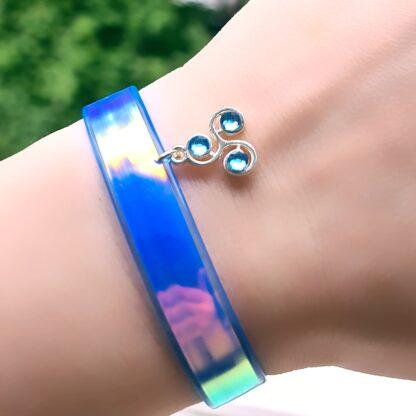 Steampunk BDSM jewelry submissive lock bracelet dominatrix clothing holographic cuff