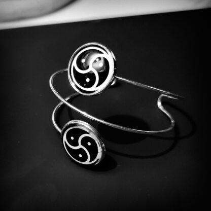 Steampunk BDSM jewelry triskele symbol submissive dominant bracelet